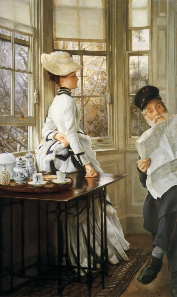 reading the news by james tissot 1874