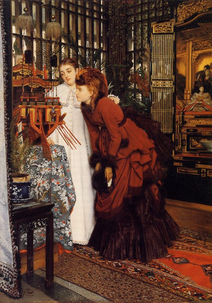 young women looking at japanese objects by james tissot 18691