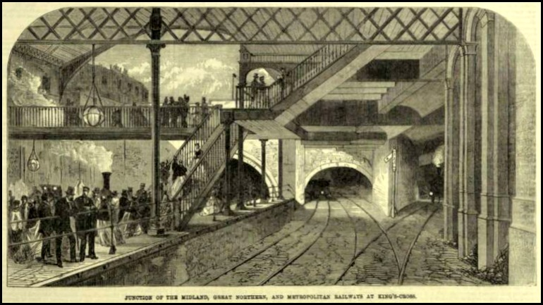 Junction of the Midlands, Great Northern, and Metropolitan Railways at King's Cross, Illustrated London, 1868.