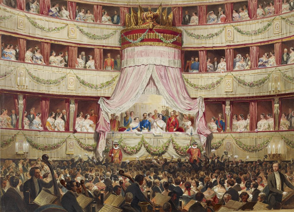 This is a later representation of the royal box at Covent Garden, but gives an idea how the theatre would have looked on Victoria's first visit there as queen in 1837. The Queen visiting Covent Garden with the Emperor and Empress of the French, 19 April 1855. Royal Collection Trust/© Her Majesty Queen Elizabeth II 2016
