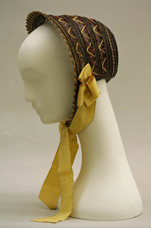 1842 british sunbonnet with yellow ribbons via met museum