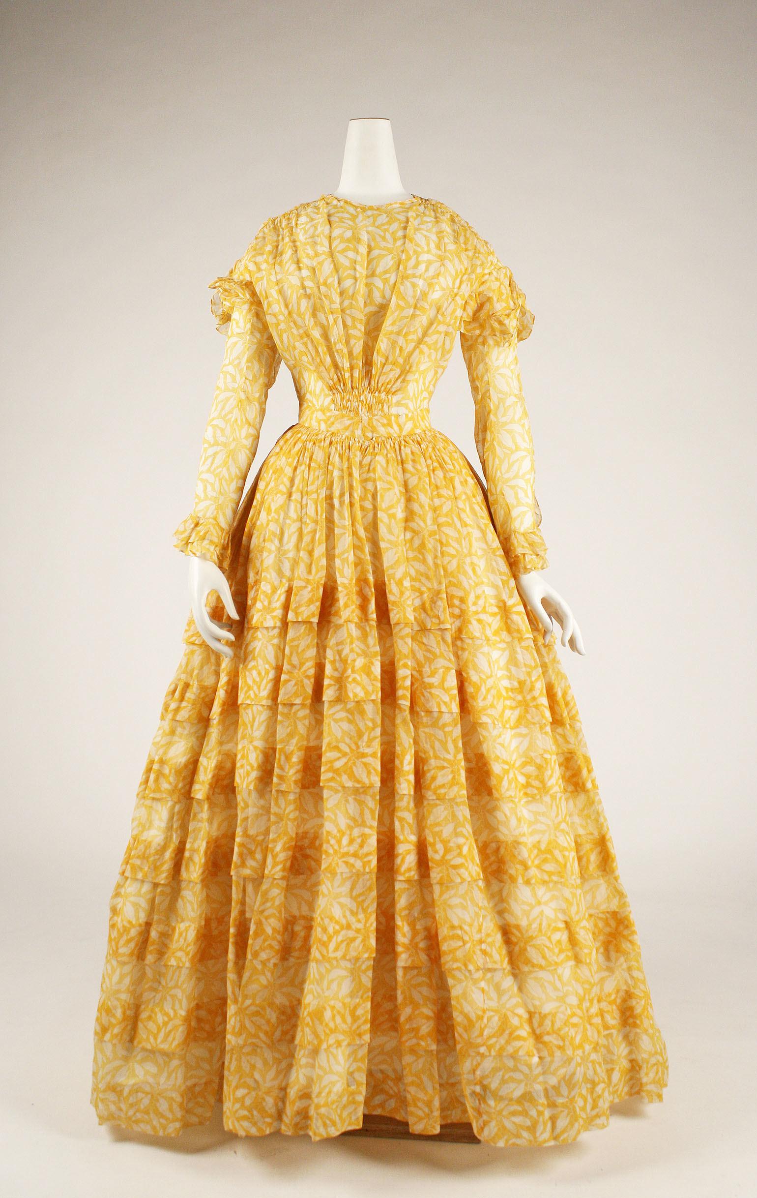 1844 yellow american cotton dress 1 via met museum