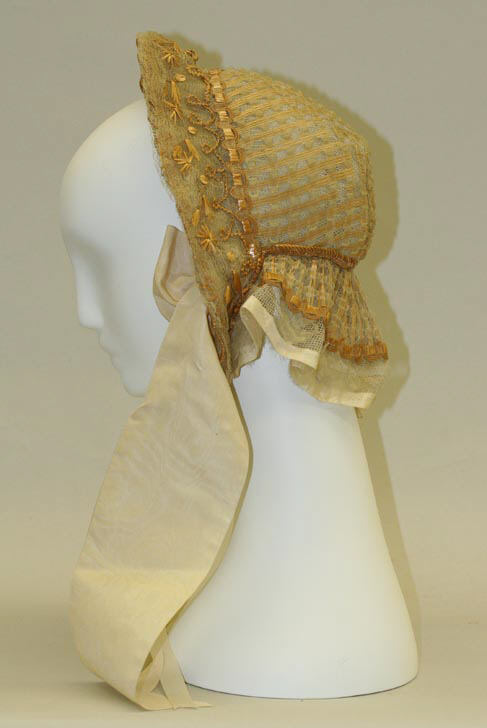 1850 yellow silk bonnet via met museum