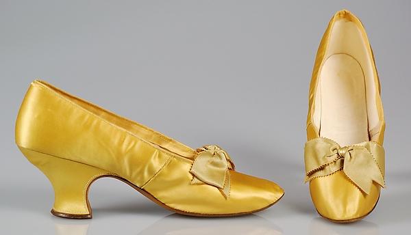 1890 1899 j ferry yellow silk evening slippers via met museum