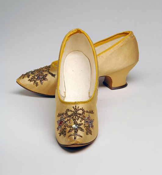 1890 yellow silk satin evening slippers with glass bead embroidery and rhinestones via museum at fit1