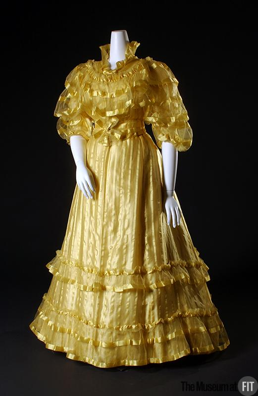 1892 house of worth afternoon dress of yellow satin stripe silk gauze via museum at fit
