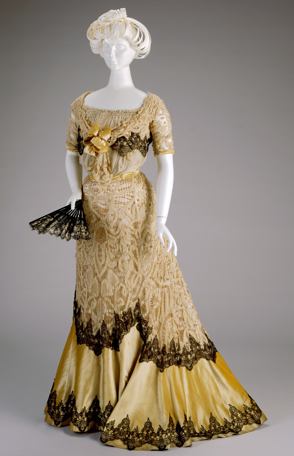 1900 1902 kate r cregmile yellow silk evening dress via cincinnati art museum