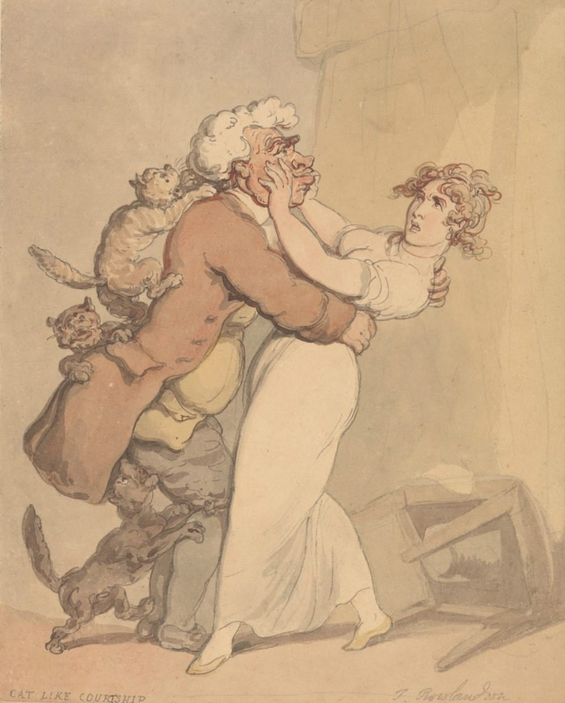 Cat Like Courtship by Thomas Rowlandson, undated.(Yale Center for British Art)