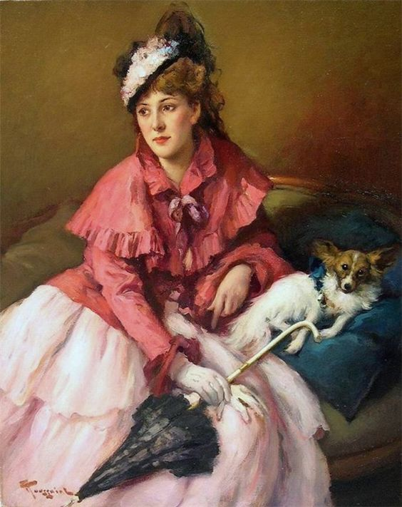 lady with dog and parasol by fernand toussaint 1873 1956