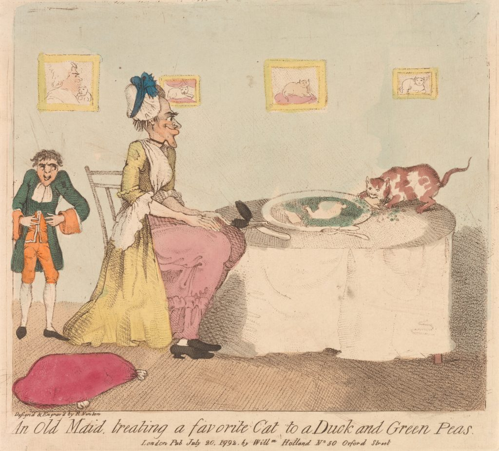 An Old Maid Treating a Favorite Cat to a Duck and Green Peas by Richard Newton, 1777–1798.(Yale Center for British Art)
