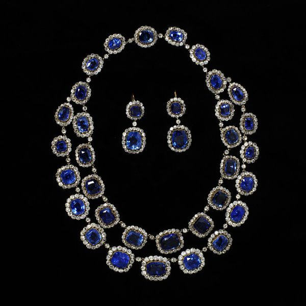 1850 sapphire and diamond necklace and earrings via victoria and albert museum