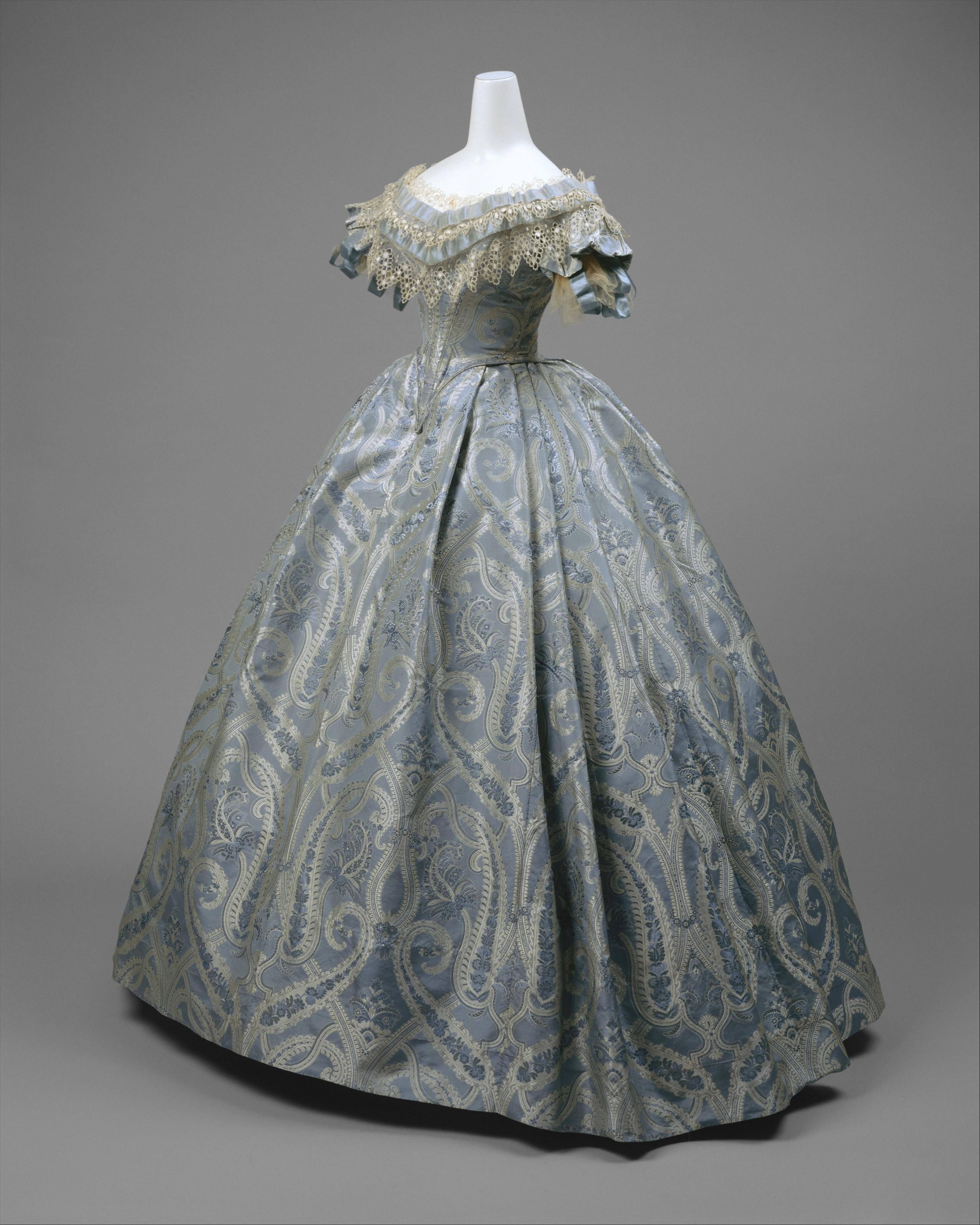1860 american silk ball gown 2 via met museum
