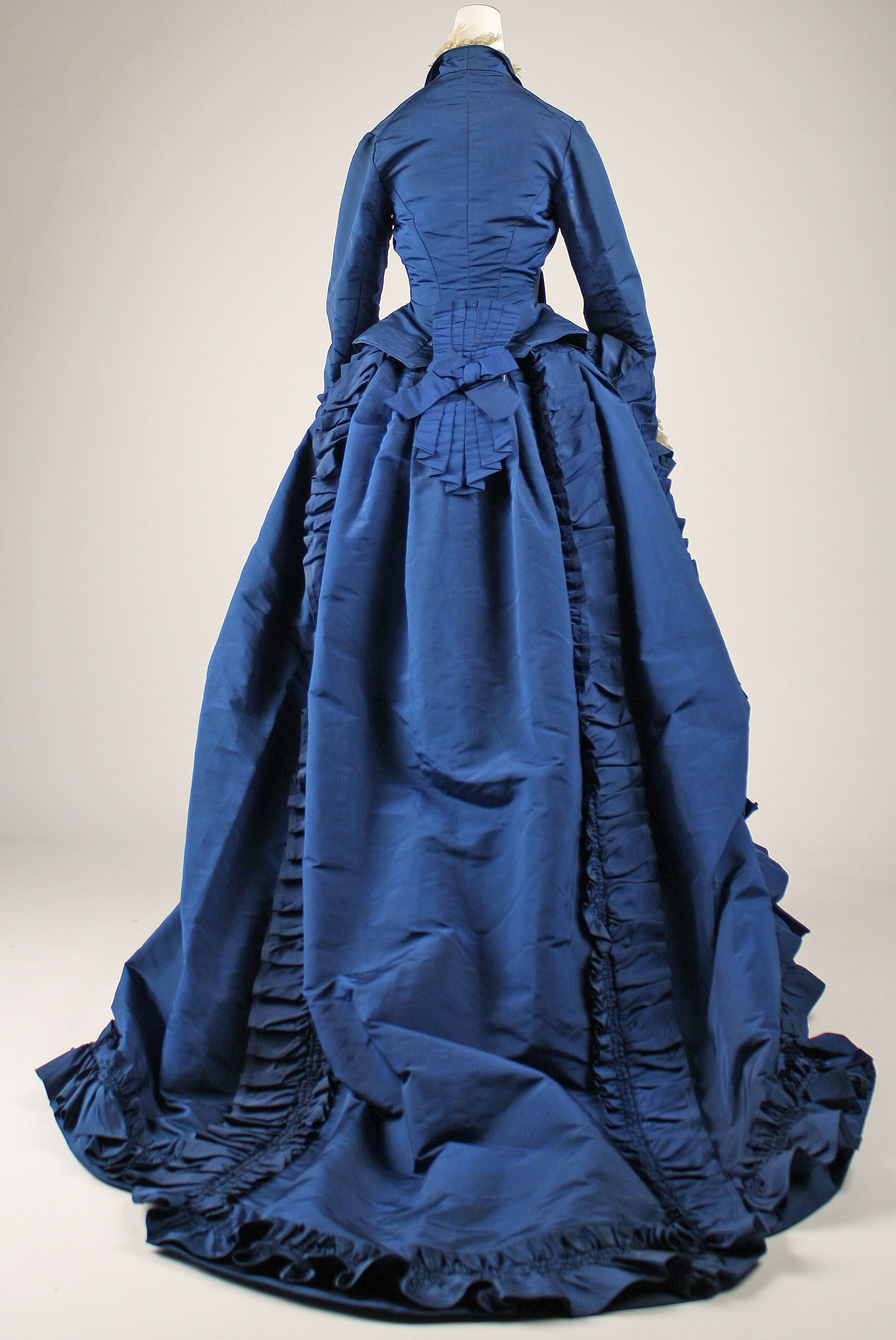 1870 french silk dress back view met museum
