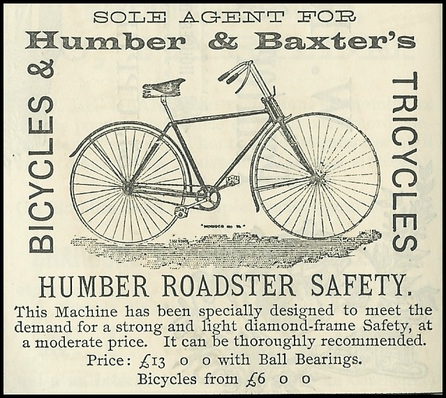 advertisement for humber baxters bicycles 1892