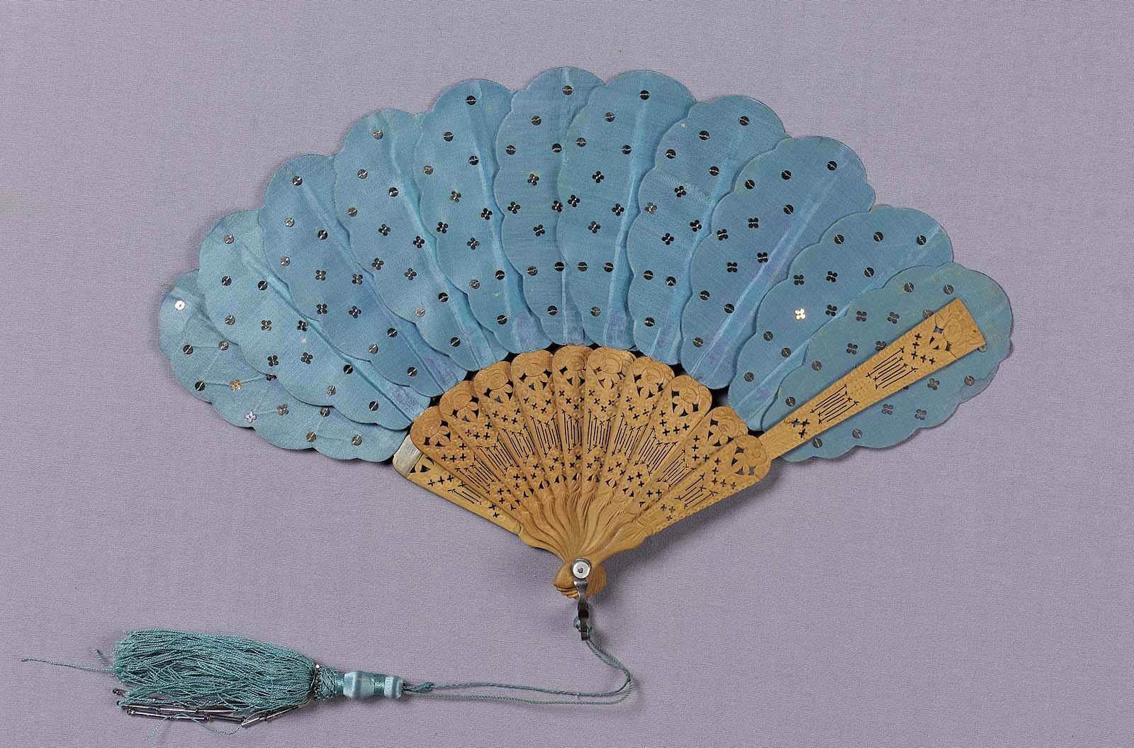 mid 19th century blue satin fan via mfa boston