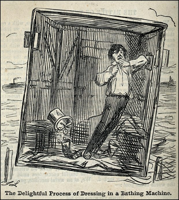 A man dressing in a bathing machine. Wood engraving by J. Leech.<BR>(Wellcome Images)