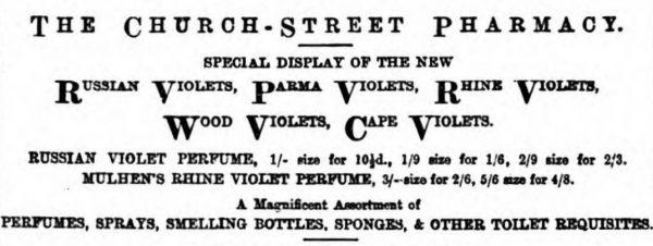 Violet Perfumes Barnsley Chronicle 23 July 1898. e1497860578327