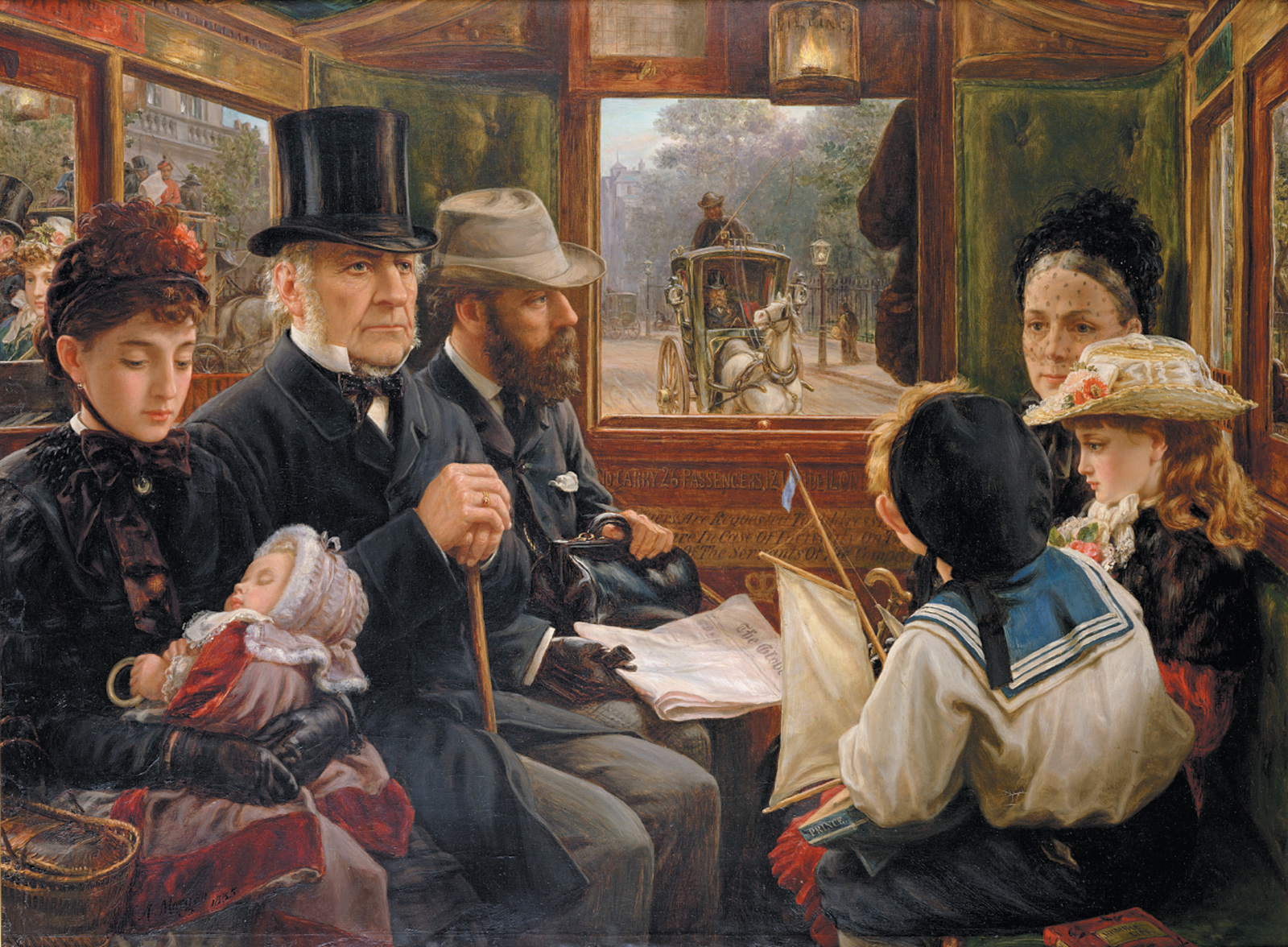 An Omnibus Ride to Piccadilly Circus, Mr. Gladstone Travelling with Ordinary Passengers by Alfred Morgan, 1885