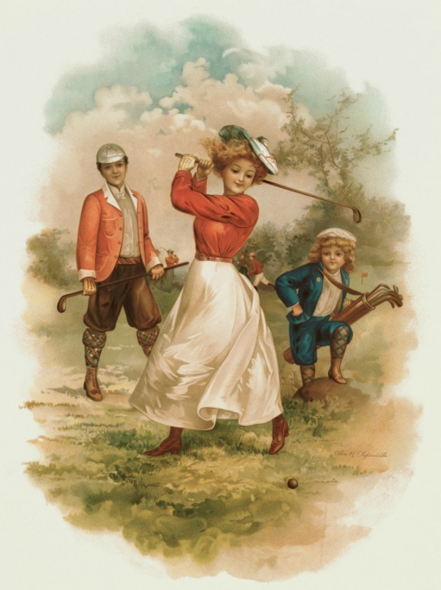 Illustration of a Woman Playing Golf by Ellen Clapsaddle 1902 Sally Fox Collection Harvard Library