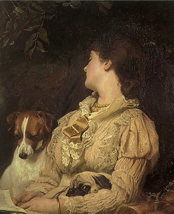 Reader and Dogs by VACLAV BROZIK 1851 1901