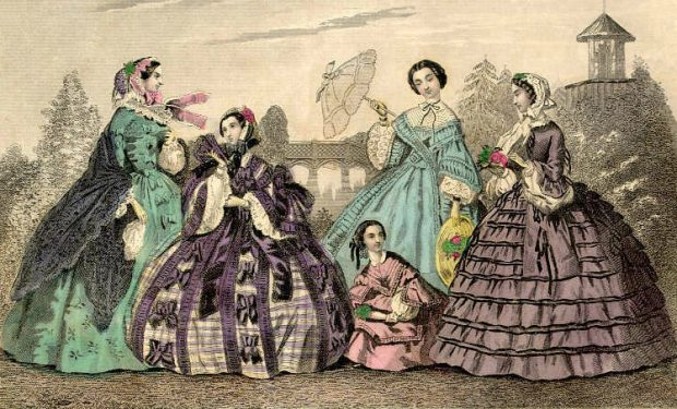 Taking an Airing Day Dresses Godeys Ladys Book April 1860 e1503264007491