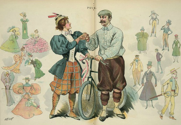 Man and Woman on Bicycles shake hands Chromolithography Puck 1895 via Library of Congress