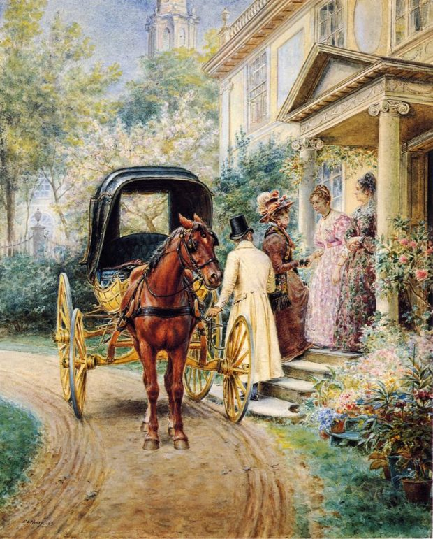 Mrs. Lydig and Her Daughter Greeting Their Guest by Edward Lamson Henry 1891 e1504636909836