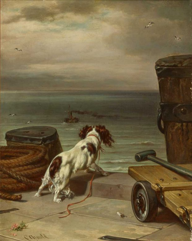 A Spaniel Looks Out at a Departing Ship by Carl Johann Arnold 1829 1926 e1508281399828