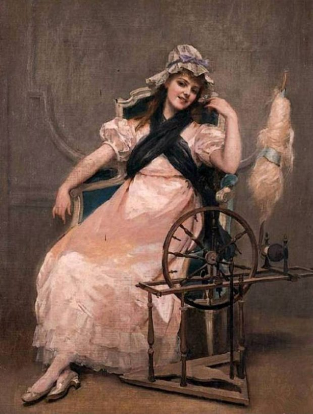A Young Beauty at a Spinning Wheel by Madeleine Jeanne Lemaire 1886 e1507237594165
