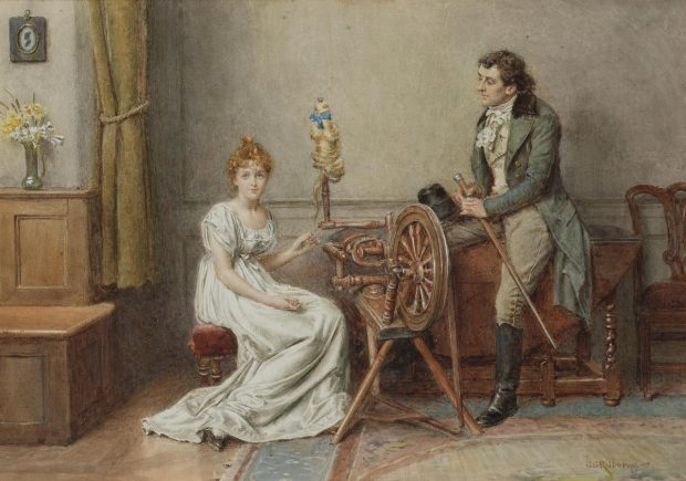 An Encounter at the Spinning Wheel by George Goodwin Kilburne n.d. e1507237284371