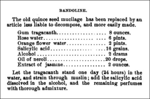 Bandoline Recipe Pharmaceutical Record 1892