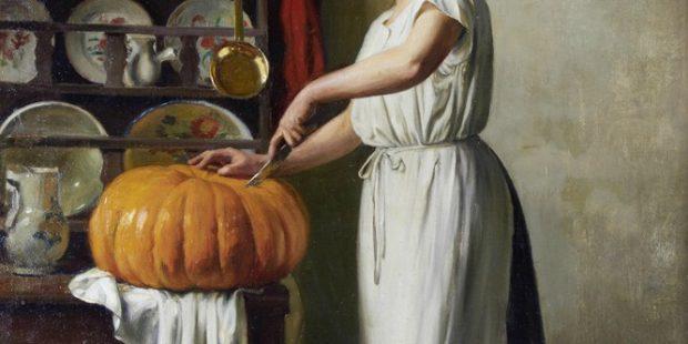 Carving the Pumpkin Detail by Franck Antoine Bail 1910. e1626157253498