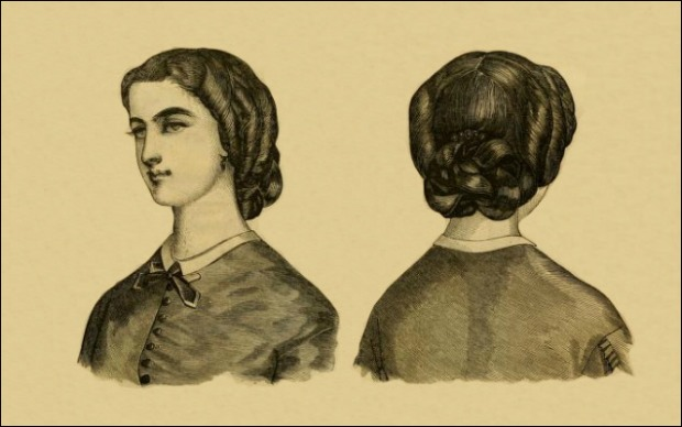 Coiffure for a Young Lady Godeys Ladys Book 1863