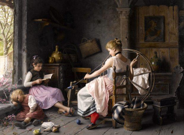 The Spinning Wheel by Giovanni Battista Torriglia n.d. e1507238015365