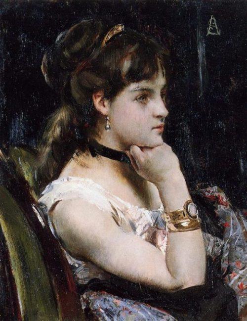 Woman Wearing a Bracelet by Alfred Emile Leopold Stevens n.d. e1506921685900