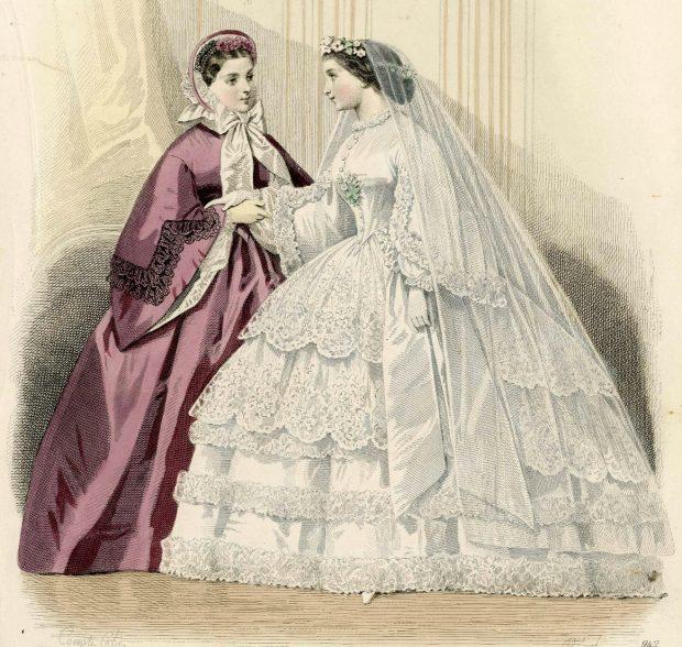 Wedding Dress Fashion Plate Les Modes Parisiennes 1861 Detail via Met Museum e1511744901539