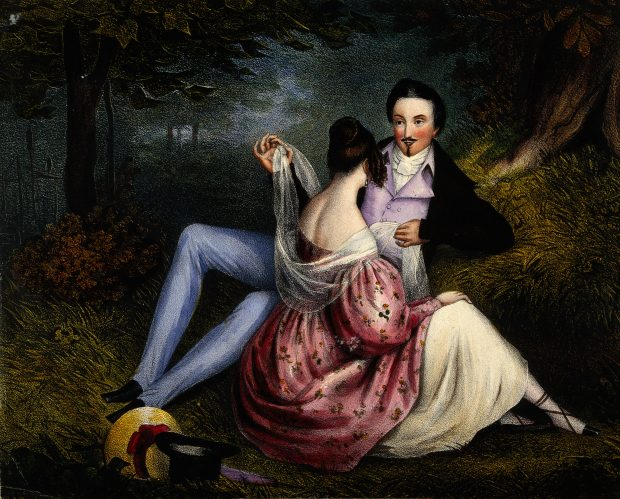Lovers sitting in the countryside lithograph via Wellcome Library e1515401415390