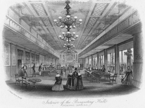 The interior of the banqueting halls at Cremorne Gardens in London England. Mid 19th century.