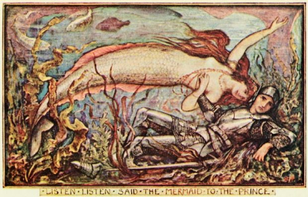 Illustration of a Mermaid from The Brown Fairy Book by H. J. Ford 1904 e1522077610893