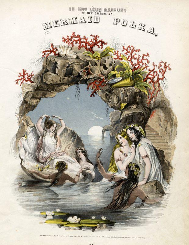 The Mermaid Polka sheet music Lith. of Napoleon Sarony 1850. H. D. Hewitt e1522078490414