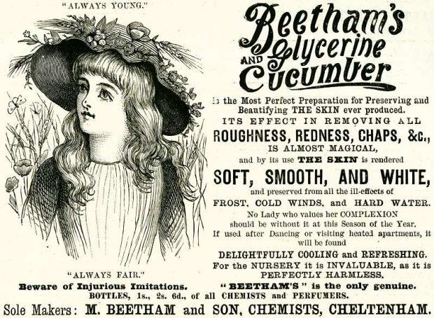 Beethams Glycerin and Cucumber advert 1890 via History World at www.historyworld.co .uk e1530031029135