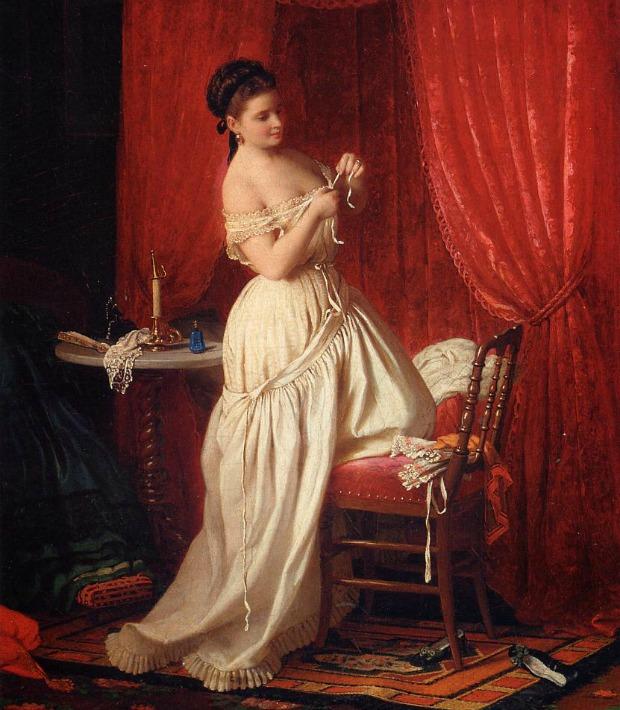 In the Boudoir by Johann Georg Meyer von Bremen 1870 Private Collection.