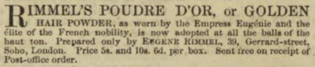 Rimmels Golden Hair Powder Illustrated London News 18 June 1853 2 e1528667349697