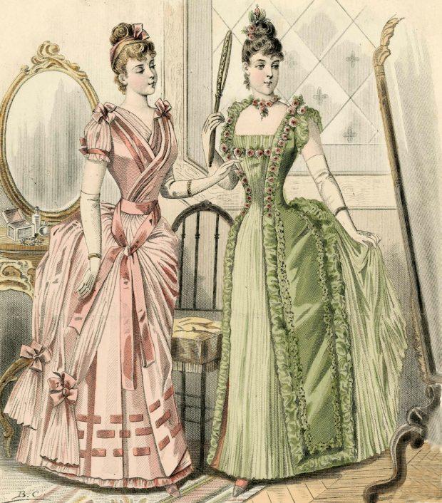 Evening Dresses with Gloves Journal des Demoiselles 1889 Met Museum e1535485361984