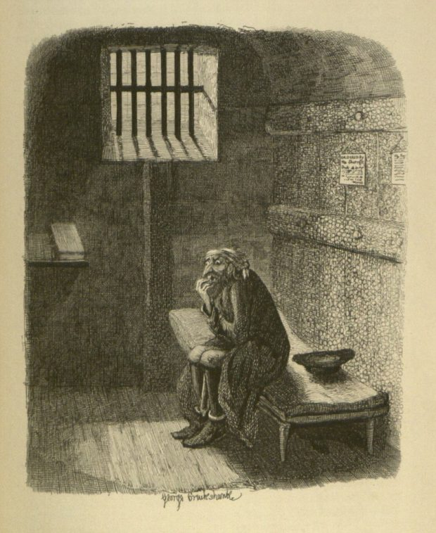 Fagin in his cell copperplate engraving by George Cruikshank 1838 e1533507984435