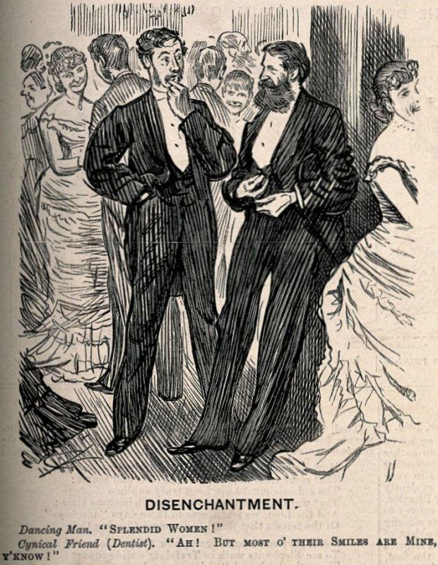 A man and a dentist commenting on the beauty of women at a ball Wellcome Images 1 e1537124577852