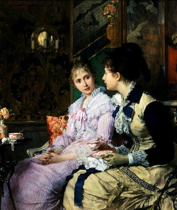 Ladies Taking Tea by Joseph Scheurenberg Date unknown