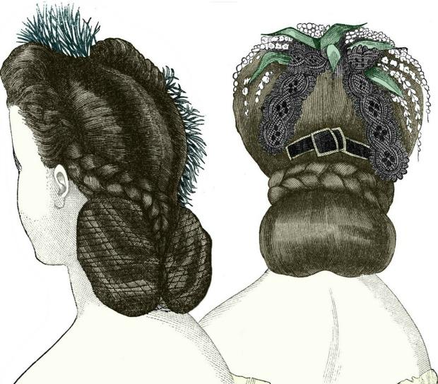 Godeys Ladys Book Clarissa Coiffure and Morny Headdress March 1864.