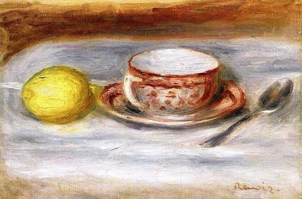 Cup of Tea Spoon and Lemon by Pierre Auguste Renoir 1909 e1549398525129