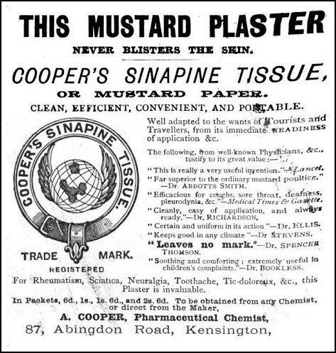 Mustard Plaster Image Cassells Family Continental Handbook 1872